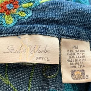 Studio Works Jackets & Coats - VTG Studio Works Petite Embroidered Denim Jacket